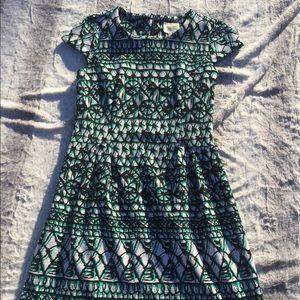 Eci New York Green White Black Dress with Pockets